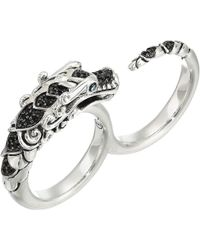 John Hardy - Legends Naga Two Fingers Ring In Brushed Finish With Black Spinel And Blue Sapphire Eyes (silver) Ring - Lyst