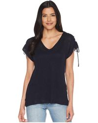 Two By Vince Camuto - Drawstring Shoulder V-neck Linen Tee - Lyst
