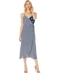 b93d6362a92 Vince Camuto - Sleeveless Modern Stripe Mix Print Wrap Dress (ink Blue)  Women s Dress