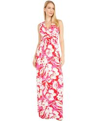 Vince Camuto Printed Jersey Wrap Front Maxi - Pink
