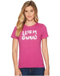 Life Is Good. - Knockout Cat Crusher Tee (sassy Magenta) Women's T Shirt - Lyst
