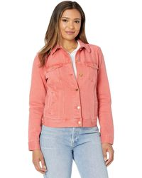 Liverpool Jeans Company Classic Denim Jacket In Stretch Slub Twill - Red