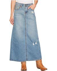 Stetson Long Denim Skirt W/ Back Slit - Blue