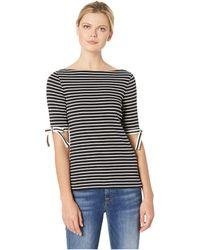 Lauren by Ralph Lauren - Ribbon-sleeve Striped Boat Neck Top (polo Black/mascarpone Cream) Women's Clothing - Lyst