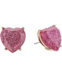 Betsey Johnson - Pink Sparkle Heart Stud Earrings - Lyst