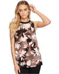 Ellen Tracy - Sleeveless Top With Smocking (premiere Fleur-night Sky) Women's Sleeveless - Lyst