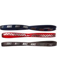 Nike - Metallic Hairbands 3-pack (gunsmoke/habanero Red/navy) Hair Accessories - Lyst
