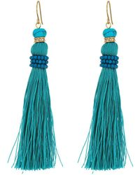 Lauren by Ralph Lauren - Turquoise And Pave Threaded Tassel Earrings - Lyst
