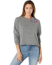 Lauren Moshi Lee Peace Hand Elements Crop Pullover Sweatshirt - Gray