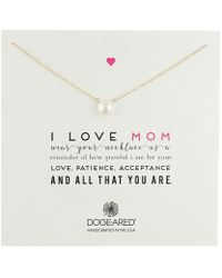 Dogeared - I Love Mom Pearl Necklace (sterling Silver) Necklace - Lyst
