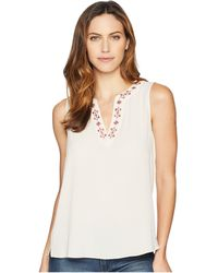 Vince Camuto - Sleeveless Embroidered Neck Soft Texture Blouse (tissue Pink) Women's Clothing - Lyst
