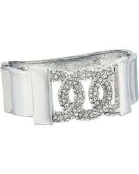 Guess Pave Frozen Link Hinge Bangle Bracelet - Metallic