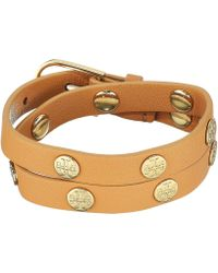Tory Burch - Double Wrap Logo Stud Bracelet (aged Vachetta/tory Gold) Bracelet - Lyst