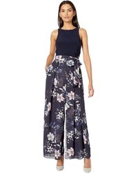 Vince Camuto Printed Chiffon And Jersey Twofer Jumpsuit - Blue