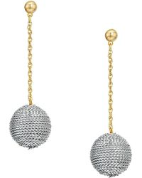 Kenneth Jay Lane - Silver Thread Wrapped Ball On Gold Chain Drop Post Earrings - Lyst