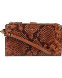 MICHAEL Michael Kors Large Leather Wristlet - Brown