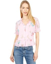 1.STATE Short Sleeve V-neck Button Front W/ Peplum - Pink