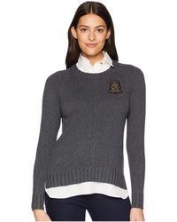 Lauren by Ralph Lauren - Bullion-patch Layered Shirt (deep Loden Heather) Women's Clothing - Lyst