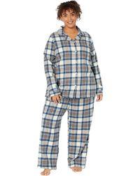 L.L. Bean Plus Size Scotch Plaid Flannel Pajamas Plaid - Blue
