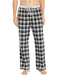 True Grit Melange Crossroads Checks Flannel Pajama Pants With Heather Knit Trim - Black