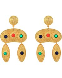 "Kenneth Jay Lane - 2.5"" Satin Gold Multicolor Cabachon Double Drop Pierced Earrings - Lyst"