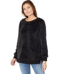 Dylan By True Grit Dream Pile Plush Long Sleeve Crew Neck Sweatshirt - Black
