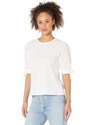 Cece Mix Media Eyelet Puff Sleeve Knit Top Clothing - White