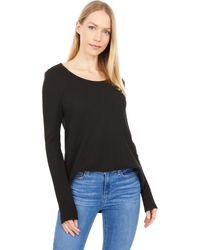 Dylan By True Grit Soft Brushed Waffle Simple Long Sleeve Crew - Black
