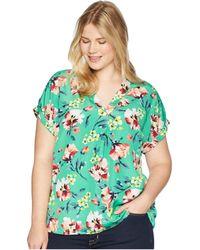 Lauren by Ralph Lauren - Plus Size Floral-print Crepe V-neck Top (multi) Women's Clothing - Lyst