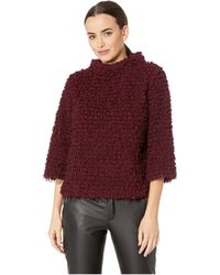 Vince Camuto - Elbow Sleeve Stand Neck Popcorn Eyelash Knit Top (allure Red) Women's Clothing - Lyst