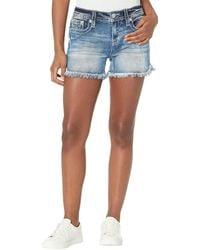 Miss Me Fringed Shorts in Medium Blue