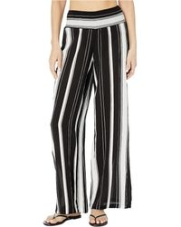Lauren by Ralph Lauren Stripe Cover-ups Rayon Stripe Smocked Pants - Black