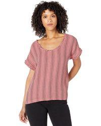 Mod-o-doc Garment Dye Stripe Gauze Short Dolman Sleeve Top - Pink
