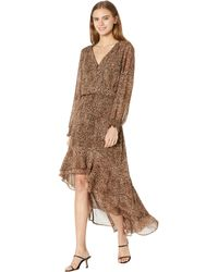 1.STATE Long Sleeve Button Front High-low Dress - Brown