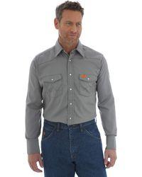Wrangler Big Flame Resistant Lightweight Work Shirt - Gray