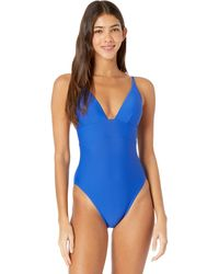 J.Crew Deep V-neck French One-piece Swimsuit - Blue