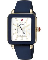 Michele S Deco Sport Navy Silicone Watch - Blue