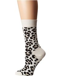 Happy Socks Leopard Print Crew Socks - Natural