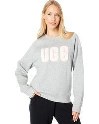 UGG Madeline Fuzzy Logo Crew Neck T-shirt - Gray