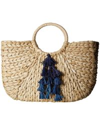 Hat Attack - Round Handle With Cascade Tassel Trim (natural/blues) Handbags - Lyst