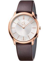 Calvin Klein - Minimal Watch - K3m216g6 (silver/brown) Watches - Lyst