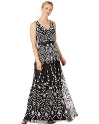 Adrianna Papell Beaded Mesh V-neck Gown With Tiered Skirt - Black