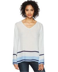 Dylan By True Grit - Surf Stripe Long Sleeve Soft Rayon Blouse (chambray/white) Women's Blouse - Lyst