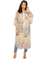 Steve Madden Linear Floral Duster Kimono (blush) Women's Clothing - Multicolor