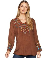 Scully - Bennington Boho Embroidered Fun Blouse (cinnamon) Women's Clothing - Lyst