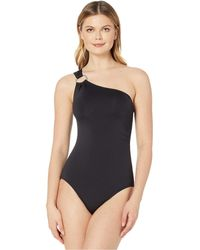 Michael Kors Iconic Solids One Shoulder One-piece - Black