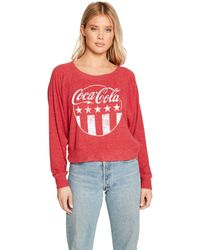 Chaser Coca-cola Stars And Stripes Love Knit Batwing Pullover - Red