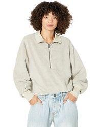 Dylan By True Grit Sherpa Modern Zip Pullover Sweatshirt - Natural