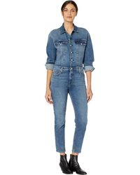 Hudson Jeans Fitted Long Sleeve Jumpsuit In Magnetize - Blue
