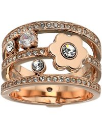 Michael Kors - In Full Bloom Floral And Crystal Accent Stacked Ring (silver) Ring - Lyst